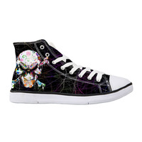 Canvas Shoes Casual Skull Rock Style Men's Vulcanized Shoes High Top Men Print High Top Sneakers For Teenage Boys