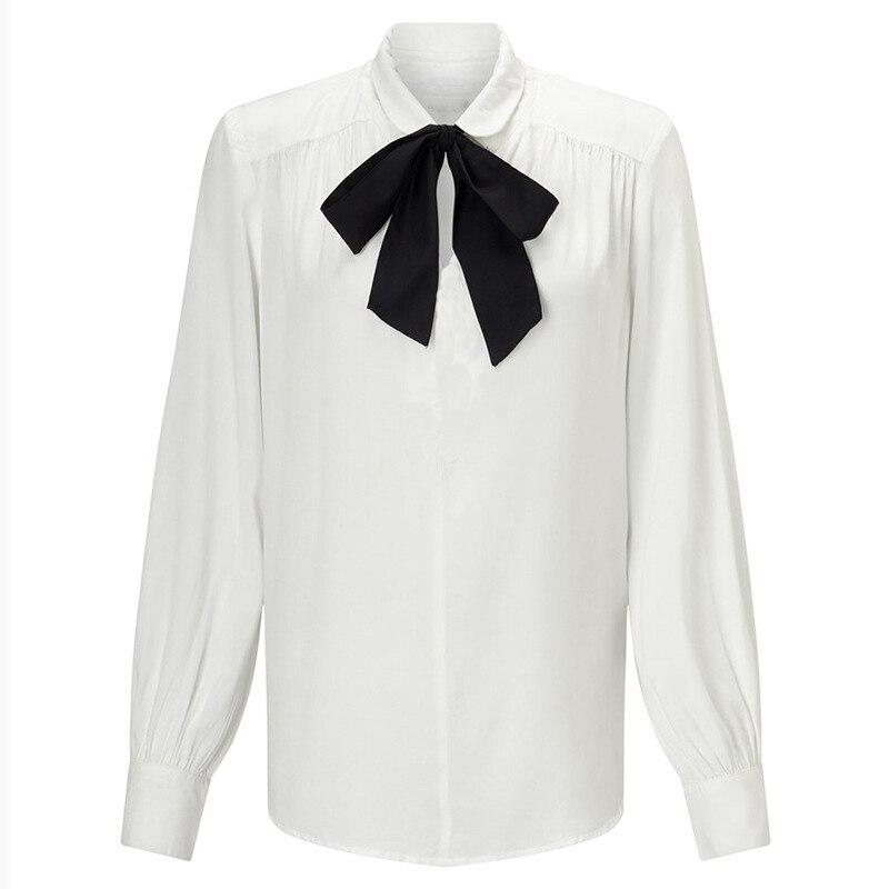 2019 שיפון מקרית מלא שרוול נשים חולצות מוצק תורו למטה צווארון קשת Loose S 6XL נקבה חולצות