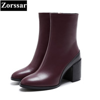 Zorssar 2018 NEW Fashion Women Riding Boots Genuine Leather Round Toe High Heels Womens Ankle
