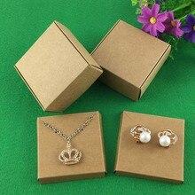 50 unidades de cajas de bisutería Kraft y tarjetas para joyería, caja de pendientes/Collar, exhibición de Joyas en blanco, embalaje de joyas, Cajas de Regalo hechas a mano