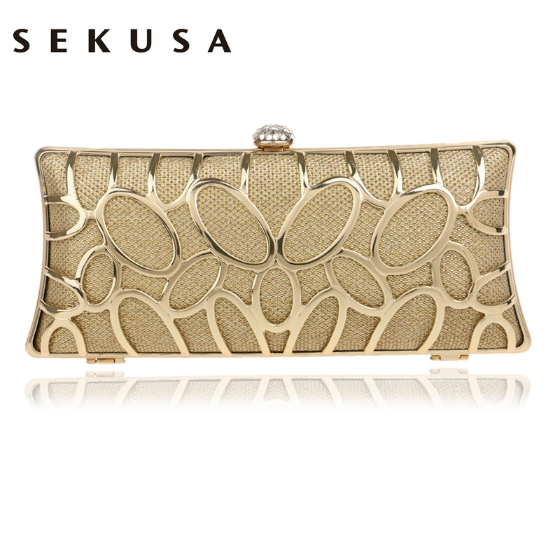 SEKUSA Clutch Female Diamonds Metal Hollow Out Style Women Evening Bags Alloy Mixed Color Chain Shoulder Purse Evening Bags punk style solid color hollow out ring for women