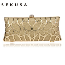 SEKUSA Clutch Female Diamonds Metal Hollow Out Style Women Evening Bags Alloy Mixed Color Chain Shoulder