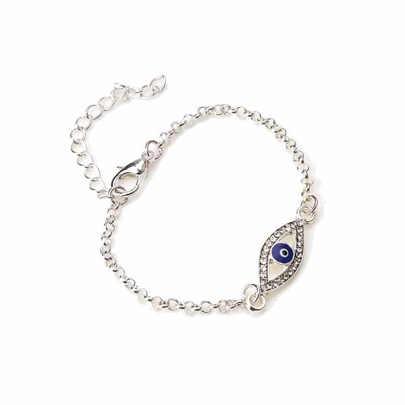 Hete verkoop !!! blauwe boze oog kristal verharde strook legering armband Turkse armband