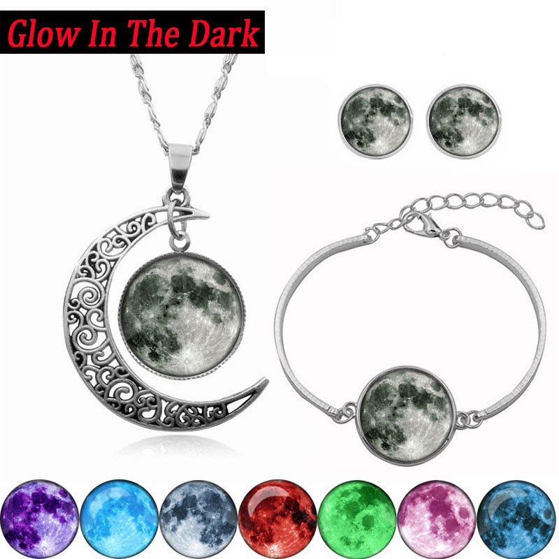 Glow In The Dark Galaxy Moon Silver Jewelry Set Glass Cabochon Photo Pendant Crescent Necklace Bracelet Earring Women Gift Set