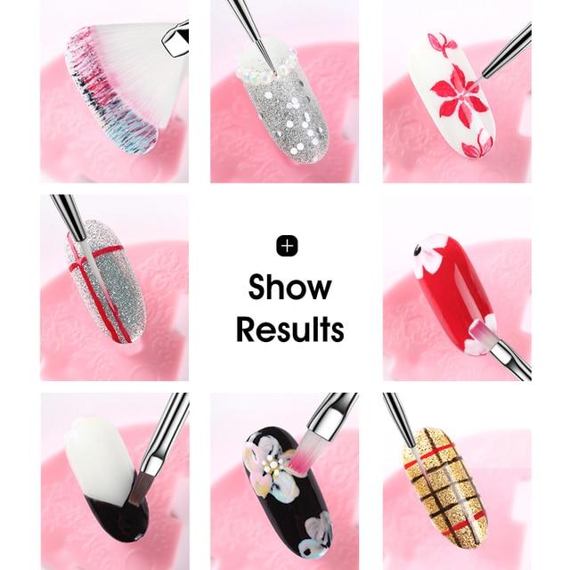 ROHWXY 8pcs/set Nail Print Pen Acrylic Nail Art Brush UV Gel Brush Nail Art Brushes For Manicure Pinceau Nail Art Pincel 2
