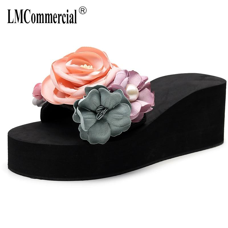 New summer slope heel flat flower female high sweet beach shoes big size flip flops luxury women designers
