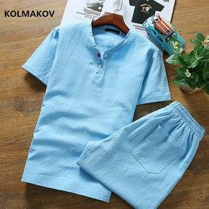 Мужская рубашка с коротким рукавом, Повседневная рубашка из хлопка и льна, с короткими рукавами, размеры от 2 до 8, 2020
