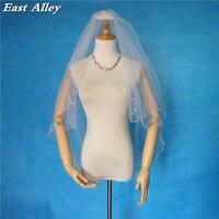 2018 New Style 2 Layer Fingertip Length Bridal Veil Handmade Beading Wedding Veil