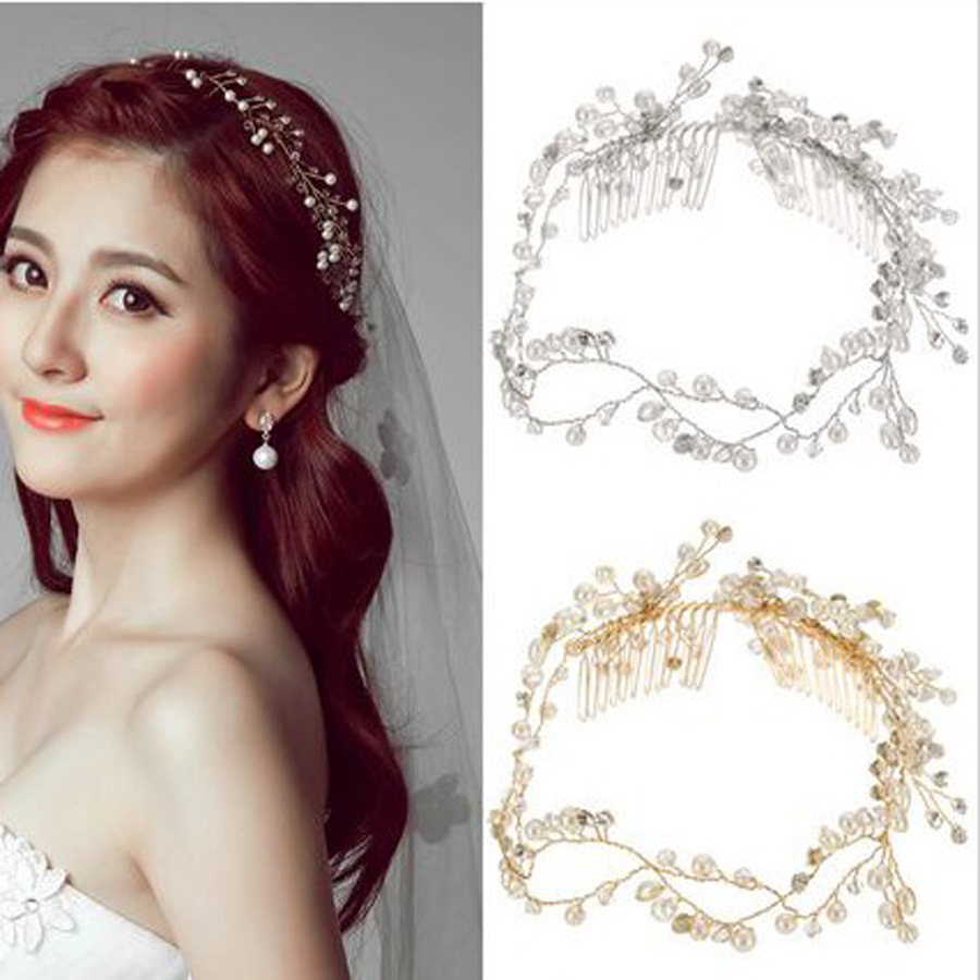 Dower me Fashion Pearls Bridal Long Hair comb Wedding Tiara Headband ...