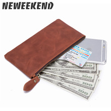 Hot Saleing Men Wallets Purses Fashion Genuine Real Leather Money Clips Sollid Thin Black Wallet Coins Pockets Phone Bag For