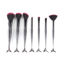 7pcs Black Mermaid Brush Spiral Professional Makeup Brush Set Cream Face Power Brushes Multipurpose Beauty Cosmetic
