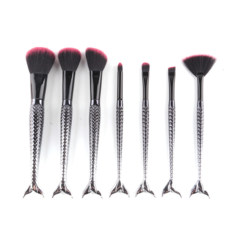 7pcs Black Mermaid Brush Spiral Professional Makeup Brush Set Cream Face Power Brushes Multipurpose Beauty Cosmetic Brushes professional makeup brush 7pcs