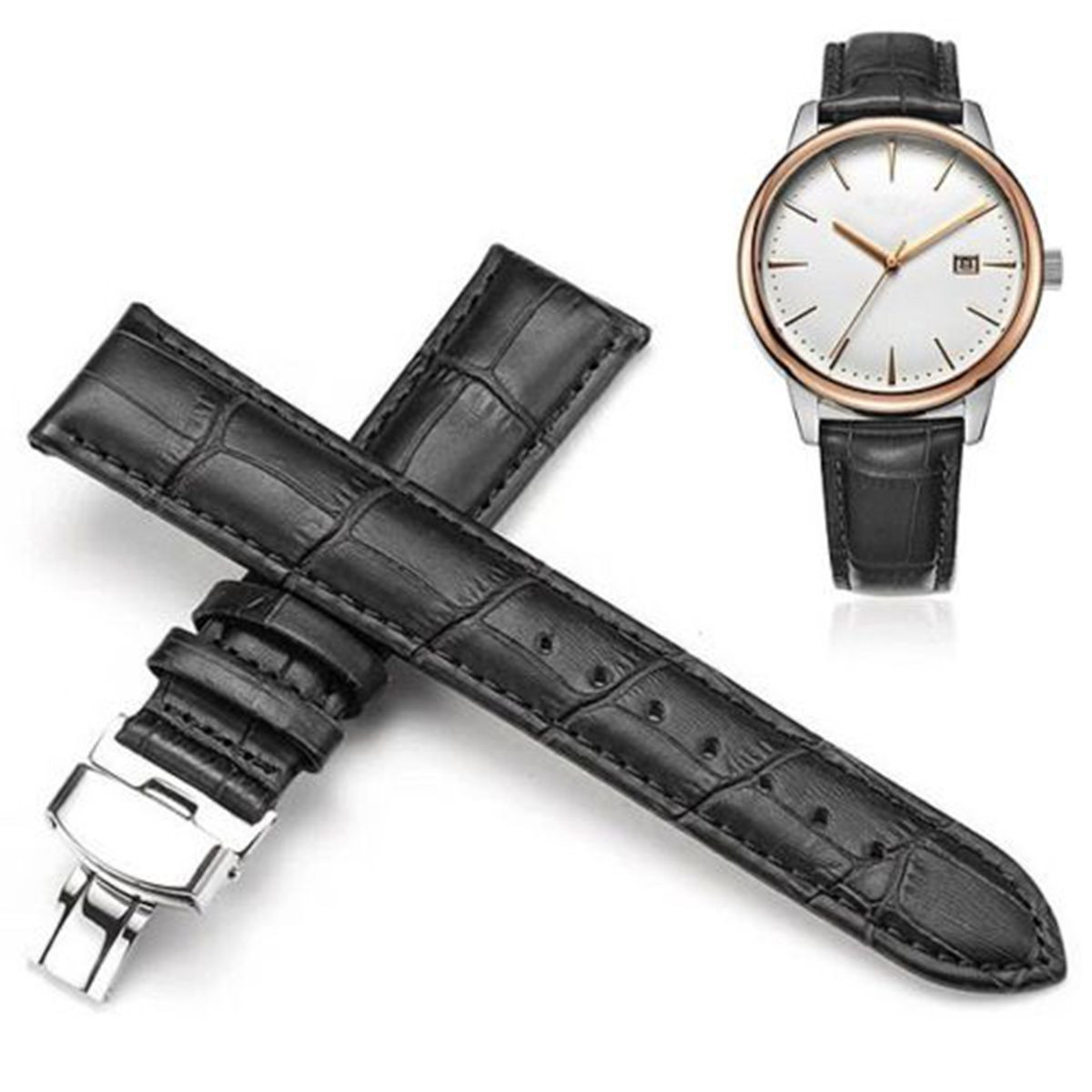 1PC Genuine Leather Watchbands Fashion Classic Replacement Strap Stainless Steel Butterfly Clasp Buckle 16mm~24mm Watch Strap genuine leather strap polished stainless steel butterfly clasp deployant buckle watch band 16 24mm