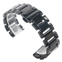 18 20 22mm Deployment Buckle Replacement HQ Solid Link Black Watch Band Wrist Strap Men Stainless