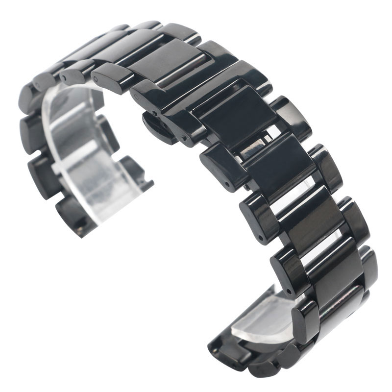18/20/22mm Deployment Buckle Replacement <font><b>HQ</b></font> Solid Link Black <font><b>Watch</b></font> Band Wrist Strap Men Stainless Steel Bracelet Women Fashion image
