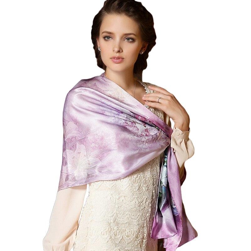 New Long Floral Digital Printing Pure Silk Women Scarf Spring Summer Echarpe Smooth Luxury Satin Shawl Scarves Foulard
