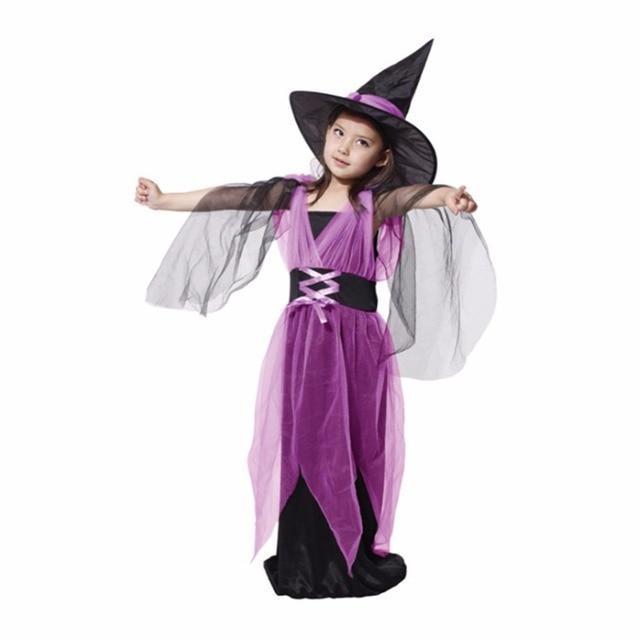 749a4e5dcce0 Ragazza Vestito Da Strega con il Cappello Costumi Principessa Abiti Da  Festa di Carnevale Halloween Costume