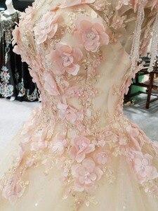 Image 3 - CloverBridal bestsellerem lista alibaba sklep detaliczny suknia dla panny młodej księżniczka piętro długość różowe liście kryształowe frędzle ramiona