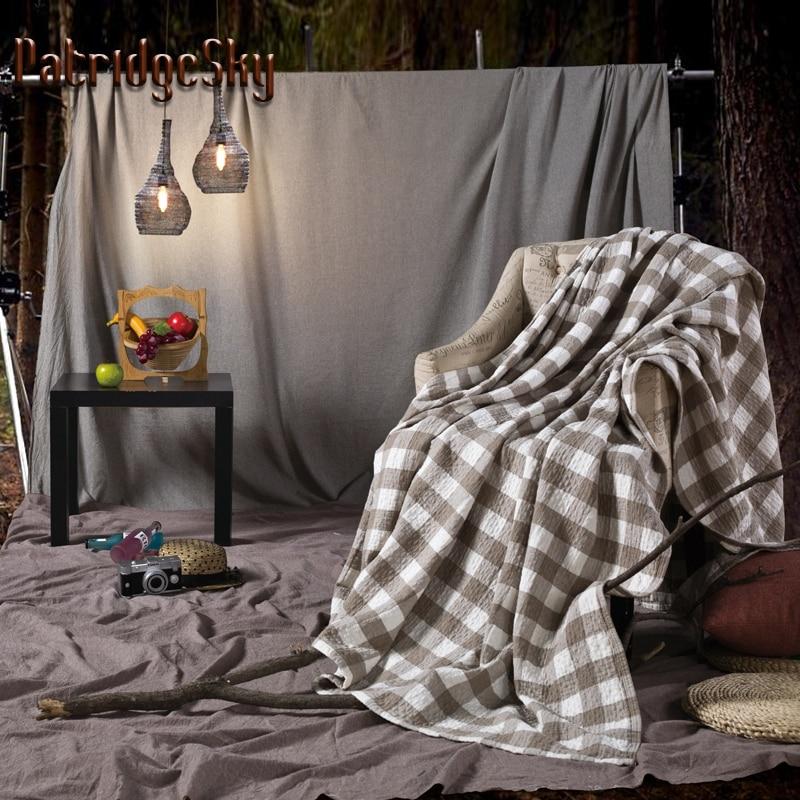 patridgesky new 1 piece 100 organic cotton nordic brief plaid knitted towel blanket sheet
