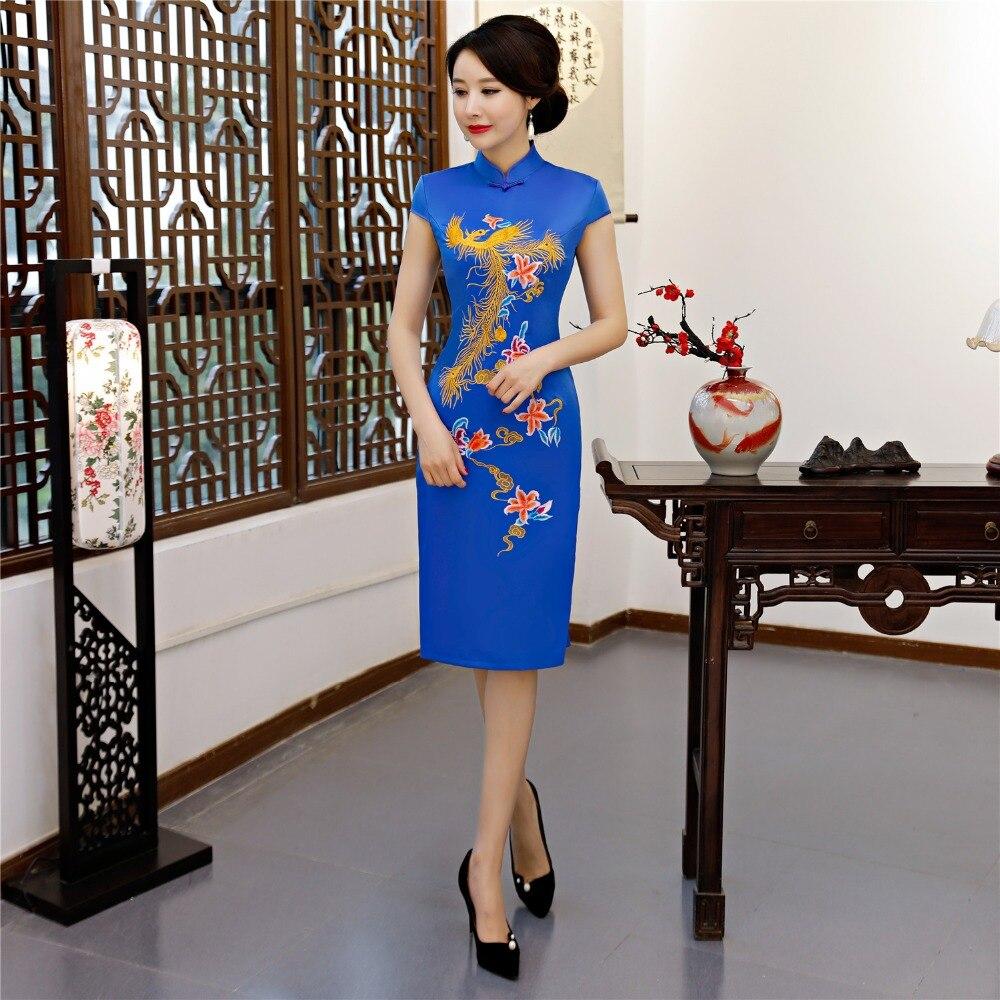 Shanghai histoire or Phoenix broderie Cheongsam chinois Qipao chinois vêtements traditionnels pour les femmes robe de Style Oriental