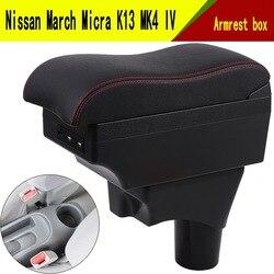 Dla Nissan March Micra K13 MK4 IV podłokietnik ze schowkiem centralny pojemnik do przechowywania box z uchwytem na kubek popielniczka interfejs USB 2010-2017