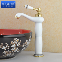 Charming Long Cool European Style Bathroom Sink Basin Faucet White Painting Deck Solid Mounted Mixer Taps