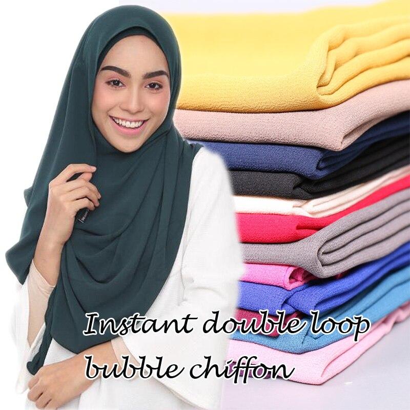 Malaysia Popular Scarf Muslim Hijab Instant Double Loop Bubble Chiffon Scarves Fashion Plain Shawls Scarf/scarves 24 Colors