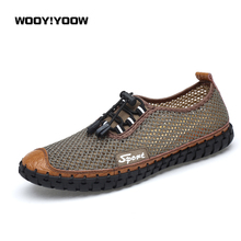 WOOY!YOOW 2018 Popular Summer Men's Casual Shoes Hot Sale Large Size Men's Shoes Delicate Suture Mesh Shoes Mesh Leather Shoes