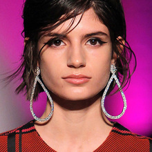 Brand Exaggerate Big Hollow Water drop Long Dangle Earrings Luxury Shiny Crystal Druzy For Women Wedding T Show Jewelry