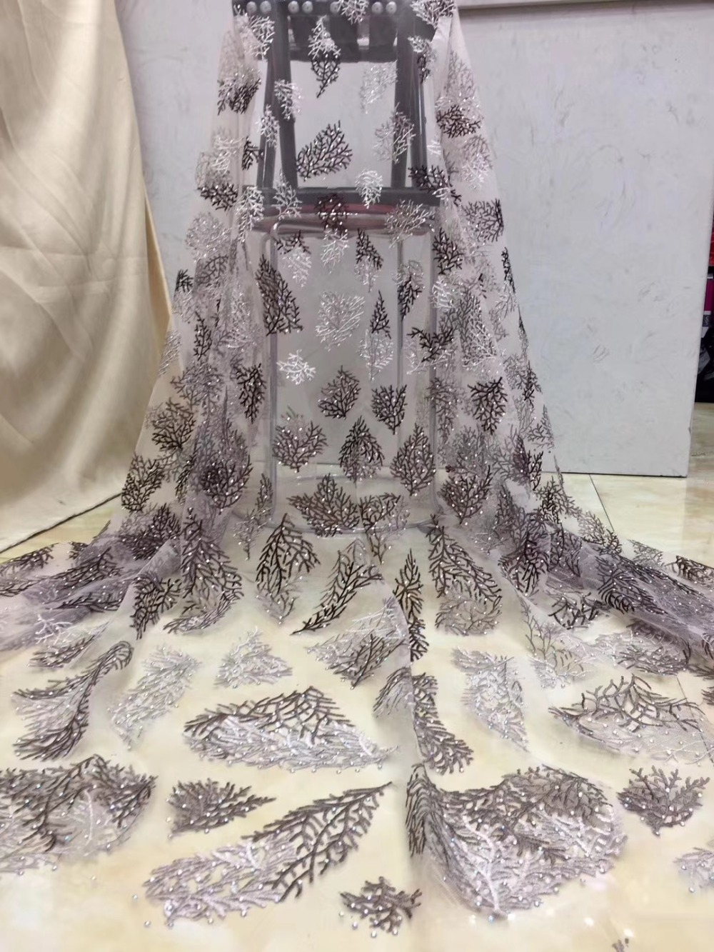 African Lace 2019 French Nigerian Lace Fabric Bridal High Quality Stones  Net Tulle Lace Fabric For Wedding Party    DPMA232African Lace 2019 French Nigerian Lace Fabric Bridal High Quality Stones  Net Tulle Lace Fabric For Wedding Party    DPMA232