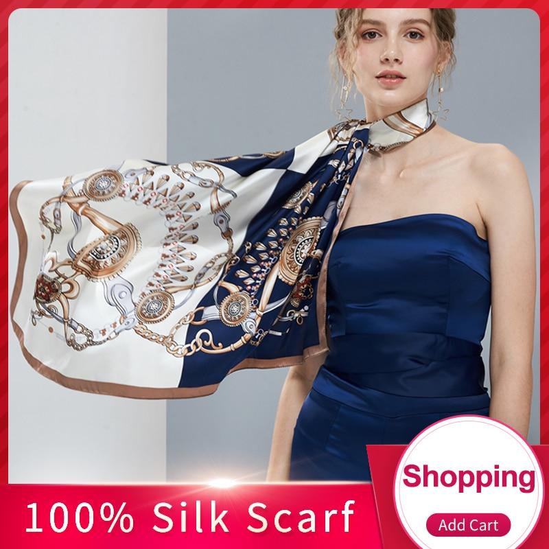 100% Silk Square Scarf 88*88cm Women 2019 Luxury Hangzhou Pure Silk Bandana Wraps for Ladies Natural Real Square Silk Scarves