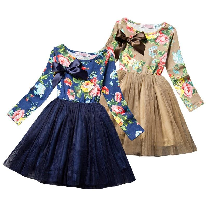 219953416879d الصين فتاة زهرة طباعة اللباس الخريف الشتاء الفتيات حفلة عيد الميلاد الفتيات  فساتين الأطفال الملابس