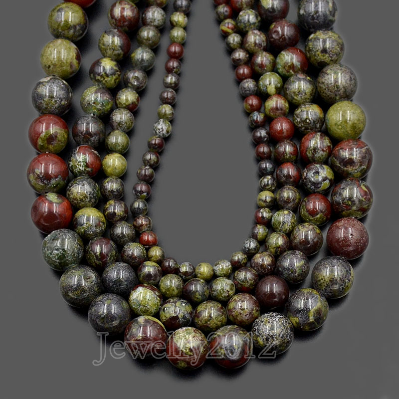 US $17 91 10% OFF|5Strands/Lot Natural Dragon Bloodstone Gem stone Round  Loose Beads 15 5