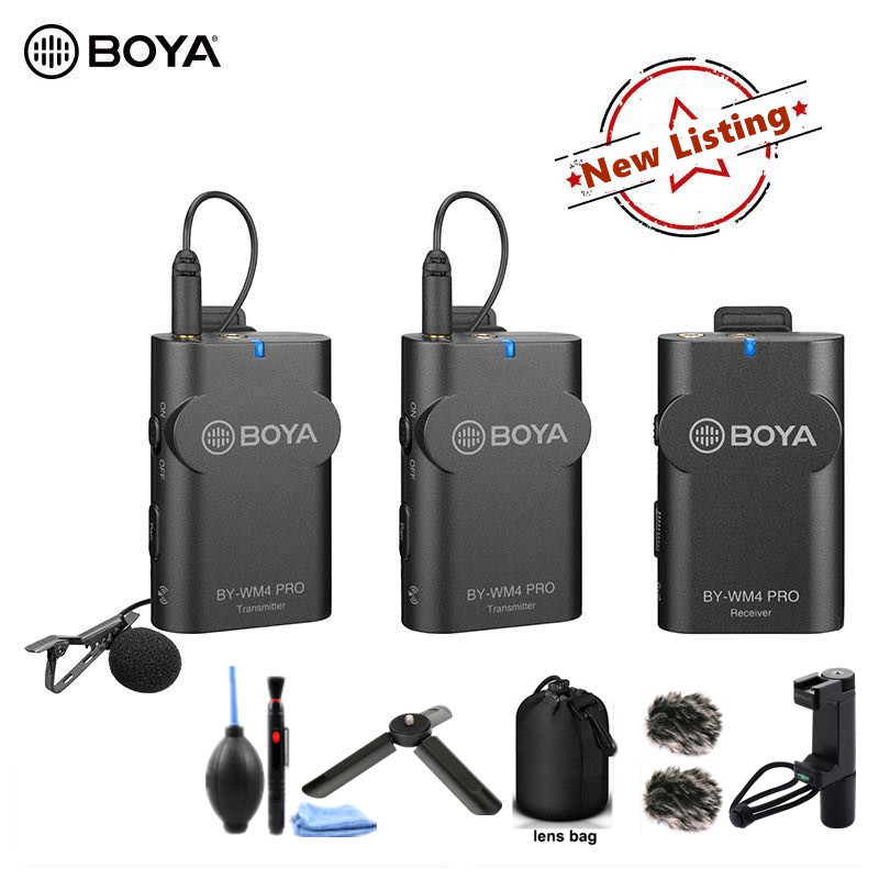 BOYA BY-WM4 Pro Wireless Microphone For DSLR Camera Phones System Transmitters Dual Channel Lavalier Lapel Microphone Mic