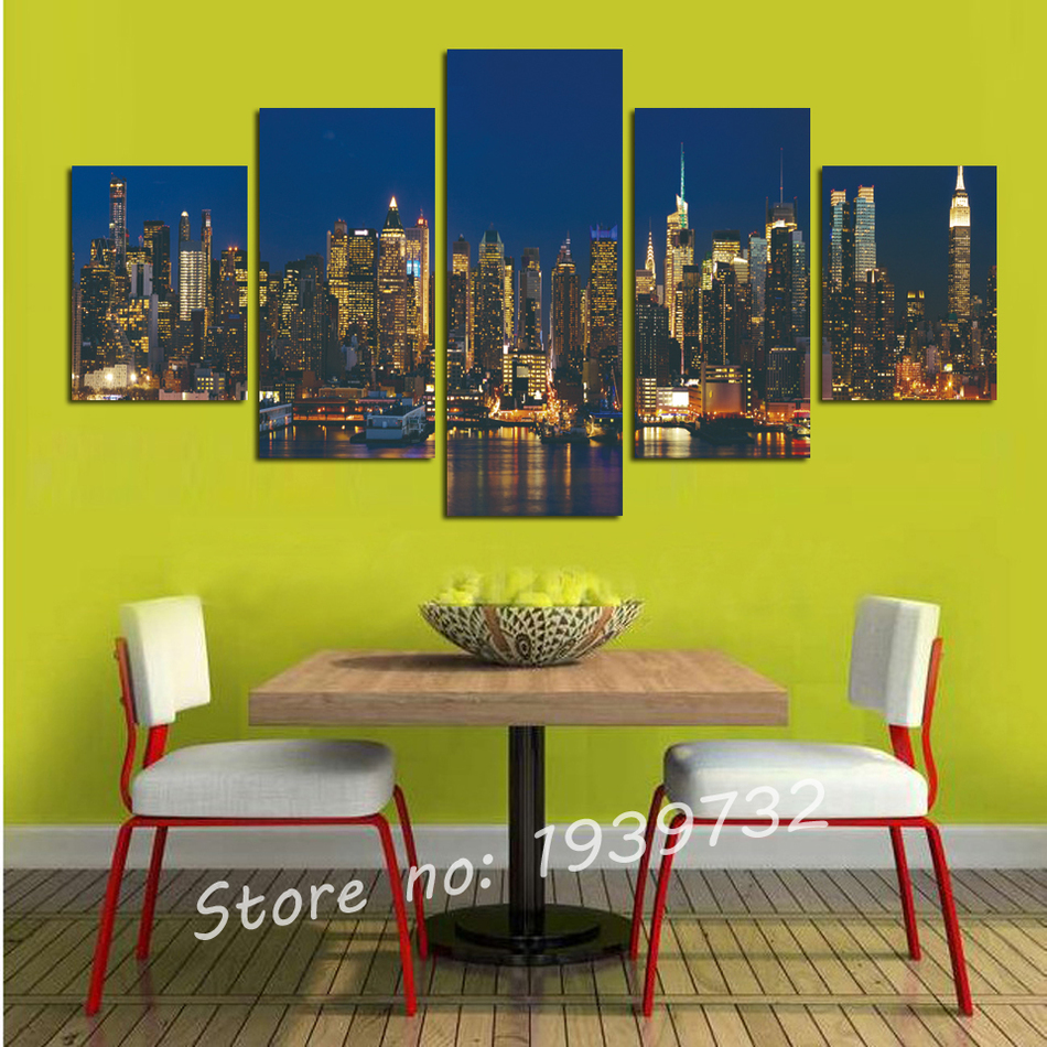5 Panel New York Night aluminum construction Canvas Art wall Home ...