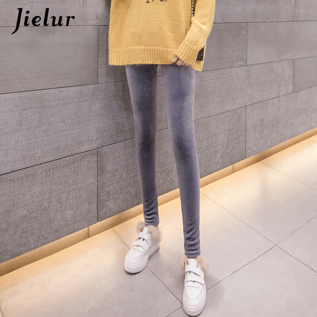 Jielur 2019 Autumn New Velour Thin Women Leggings Solid Color High Waist Skinny Pants Female Slim Fashion Ladies Leggins S-XXL