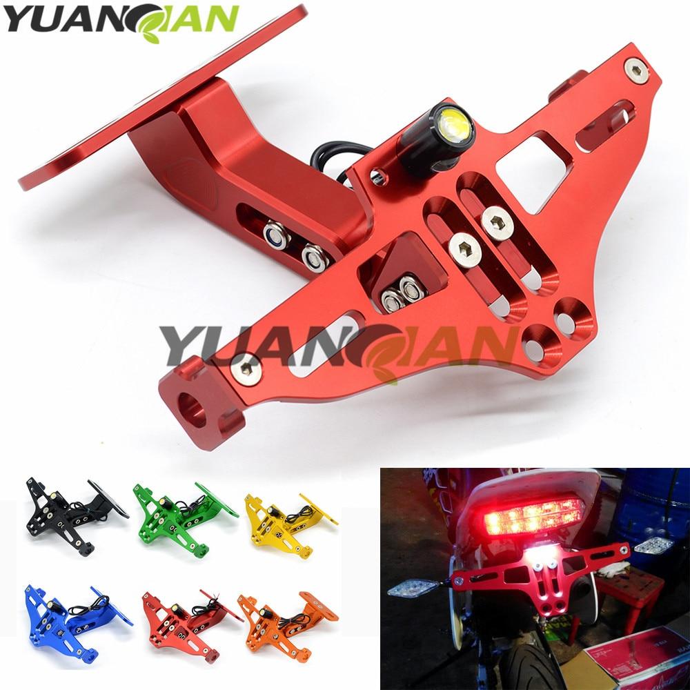 CNC Motorcycle Adjustable License Number Plate Frame Holder Bracket Mount for yamaha YZF R125 R15 R25 r 125 15 25 mt-07 mt-09 10