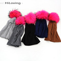 GZHilovingL New Spring Beanies Hats For Womens Soft Polyester Slouch Beanies With Real Fur Pompom Hats For Ladies Oversize Hat