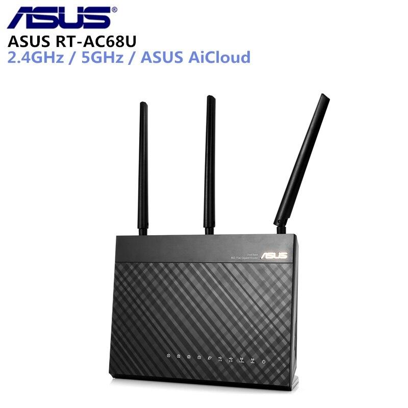 ASUS RT-AC68U AC1900 Беспроводной маршрутизатор 1300 Мбит/с + 600 Мбит/с WI-FI 802.11ac WI-FI маршрутизатор MU-MIMO AiMesh Адаптивная QoS