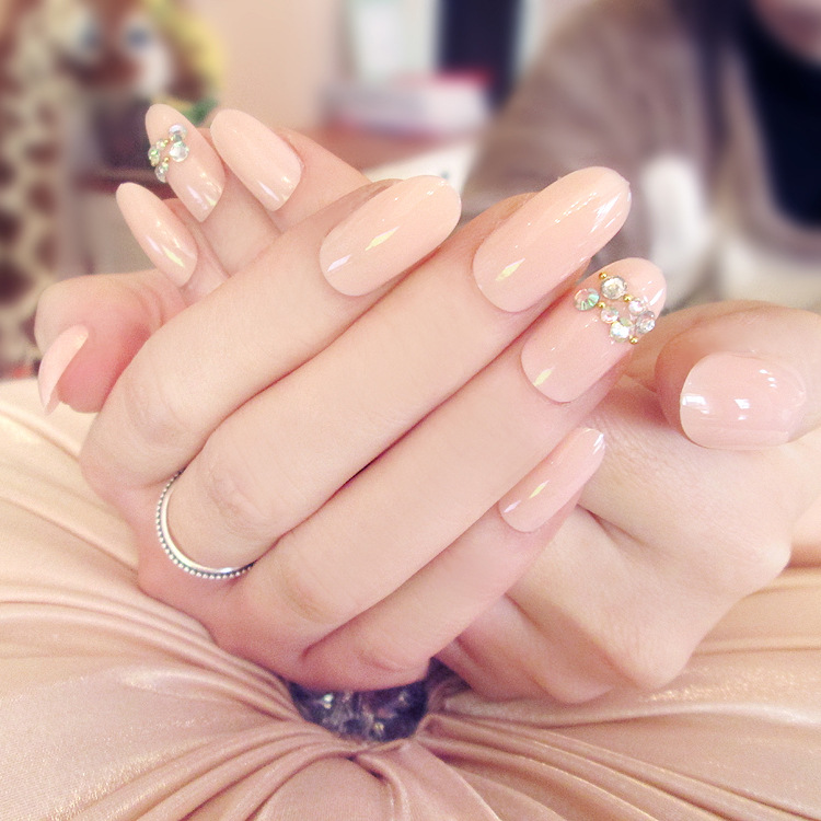 24pcs fashion long fake nails tips Simple diamond style 3D false nails tips fake nail art with free glue for fashion girls