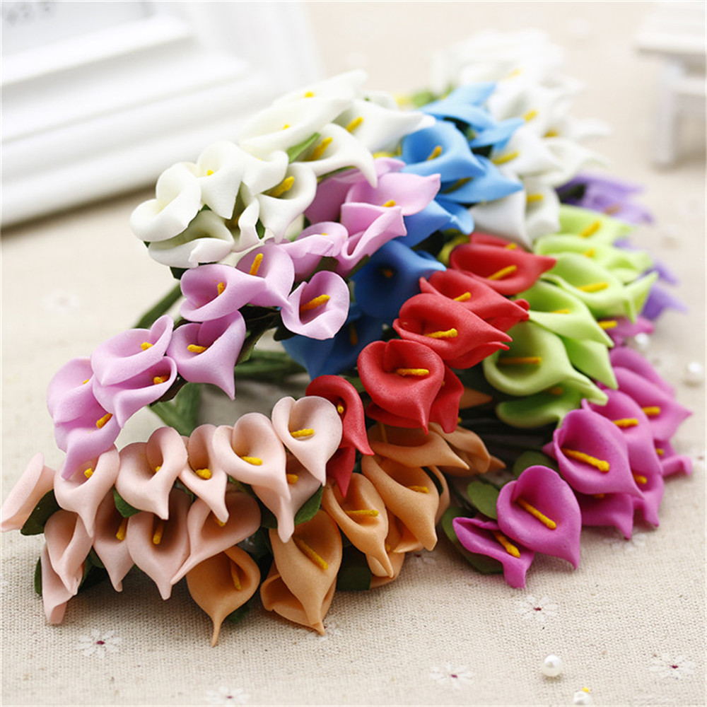 12pcs Foam Pure White Calla Artificial Flower For Wedding Home Decoration DIY Scrapbooking Decorative Wreath Fake Flowers