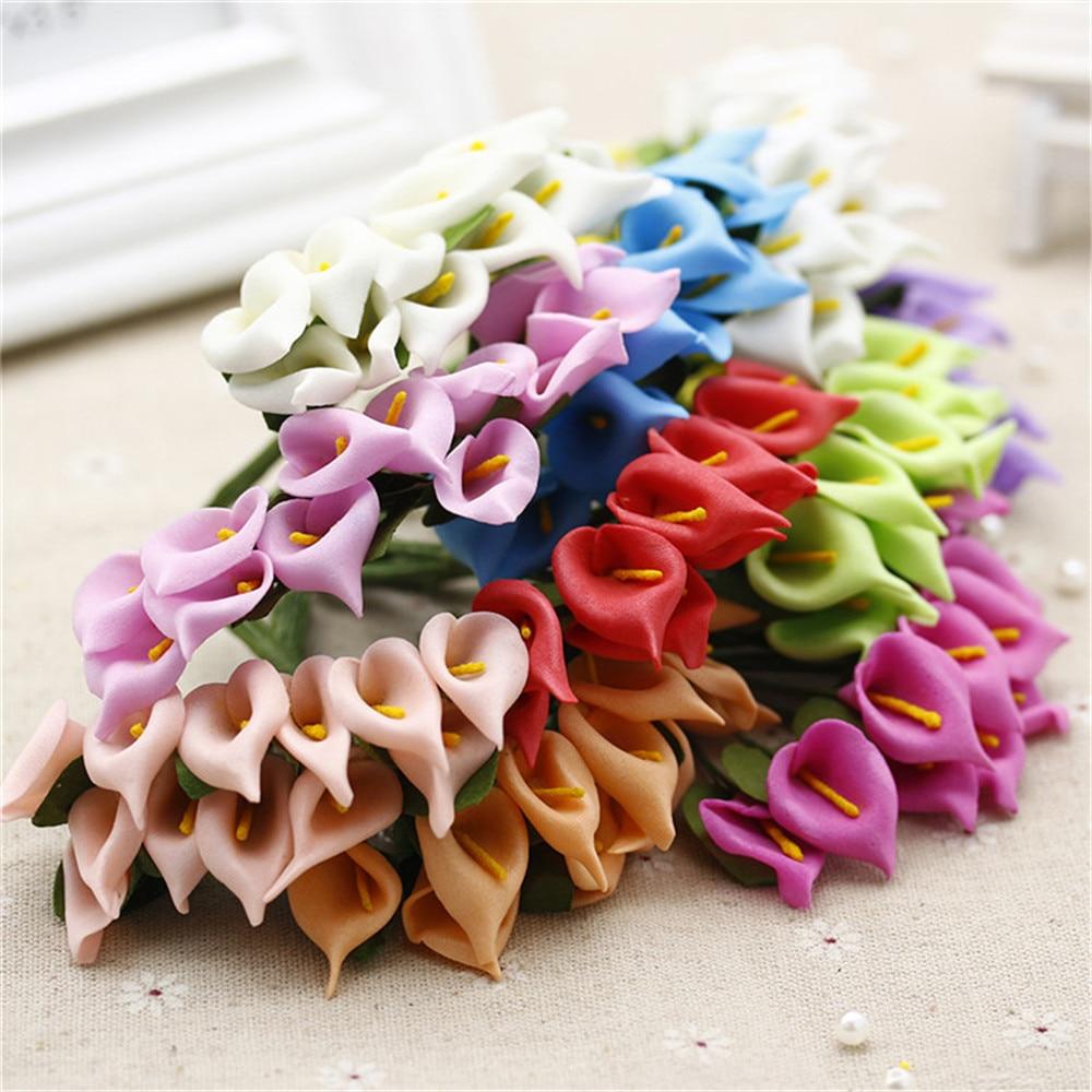 12pcs Foam Pure White Calla Artificial Flower For Wedding Home Decoration DIY Scrapbooking Decorative Wreath Fake Flowers