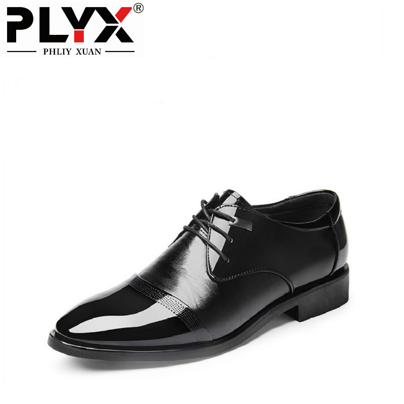 PHLIY XUAN New 2018 Fashion Men Dress Shoes Leather Lace-Up Pointed Toe Office Oxford Shoes For Men Solid Black Male Shoes