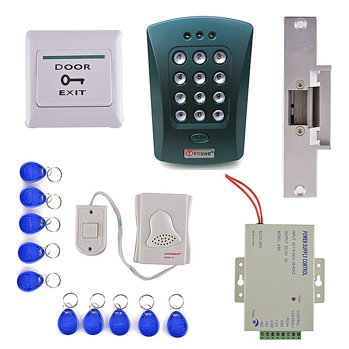 Electric Strike Door Lock + 125KHz EM Card Keypad Access Control Security System Kit mini access control keypad em card wiegand 26 output input with rfid keyfobs 125khz for door lock security system
