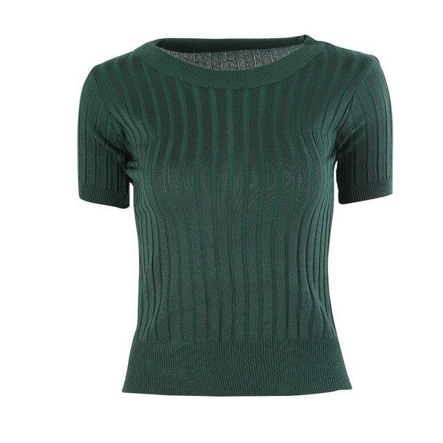 5b175750ebd2 For Lady Knit Women s Pullover O Neck Knit Jersey Shirt Half Sleeve ...