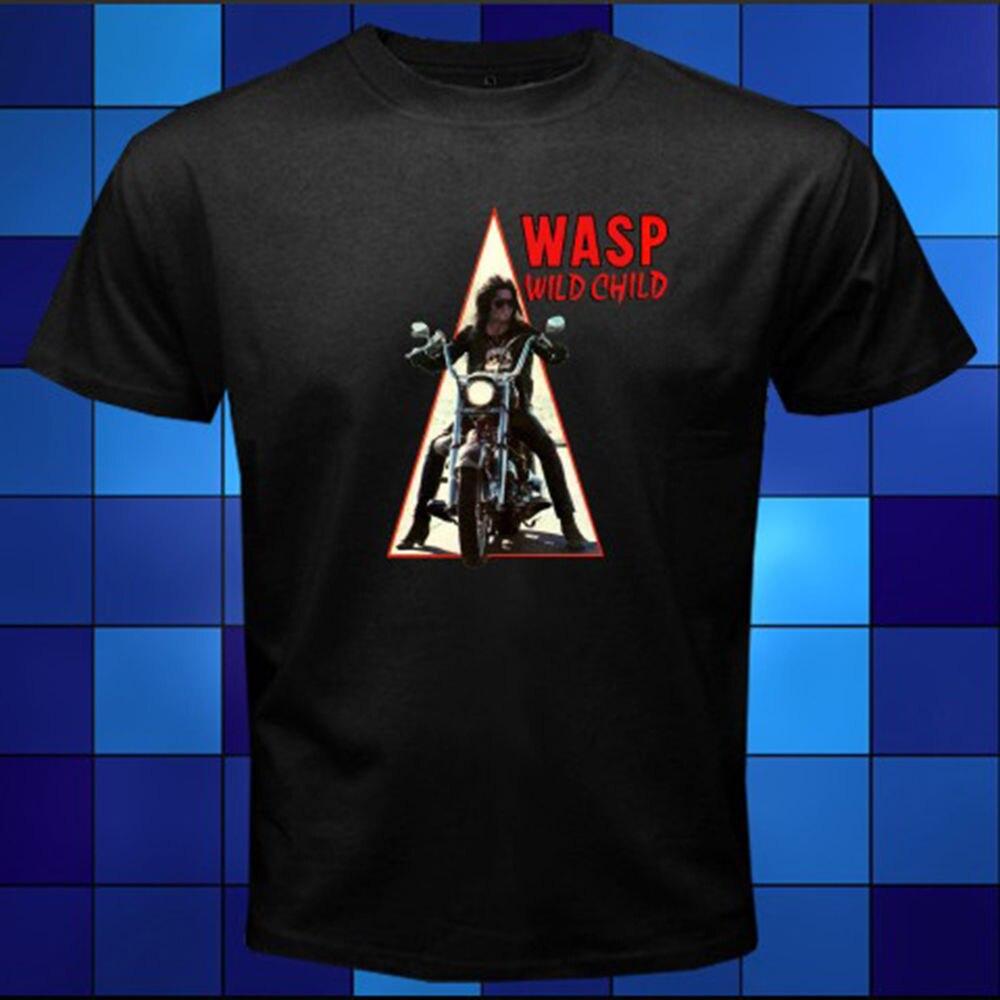 New WASP W.A.S.P. Wild Child Metal Rock Band Black T-Shirt Size S M L XL 2XL 3XL Sleeve T Shirt Summer Men Tee Tops Clothing