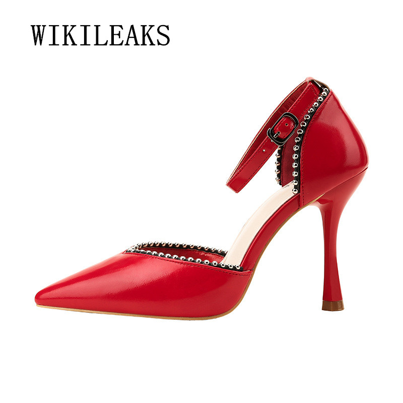 Women Pumps String Bead Pointed Toe High Heels Shoes Dress Pumps Women Shoes Bridal Wedding Ladies Shoes Zapatos Mujer Tacon