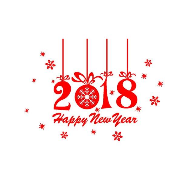Kakuder Stickers Cuisine Gelukkig Nieuwjaar 2018 Vrolijk Kerstboom