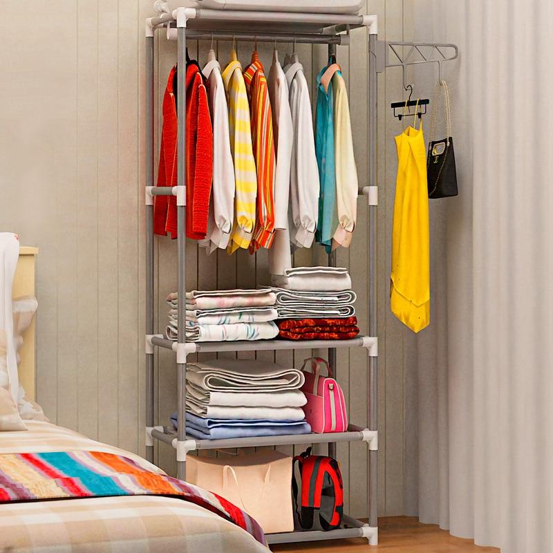 Simple Metal Iron Wardrobe Floor Standing Coat Rack Clothes Hanging Racks Storage Shelf Bedroom Furniture