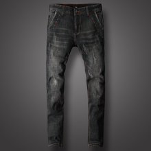 Italian Style Fashion Men Jeans Black Skinny Stretch Ripped hombre Streetwear Hip Hop Trousers Classical